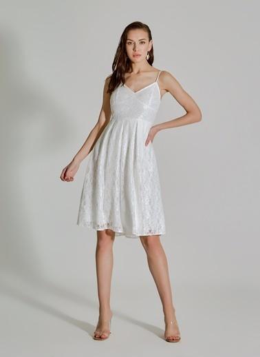 People By Fabrika Dantelli Askılı Elbise Beyaz